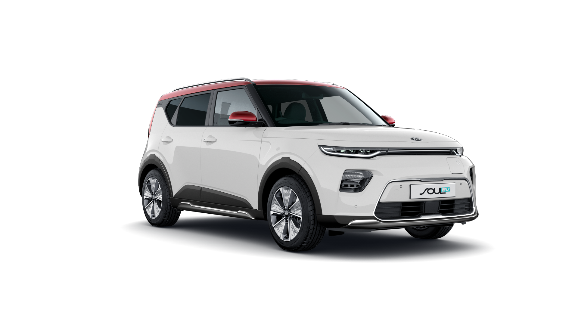 Kia  Kia Soul EV Clear White with Red Roof